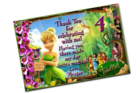 Tinkerbell Birthday Thank You Card Print Digital