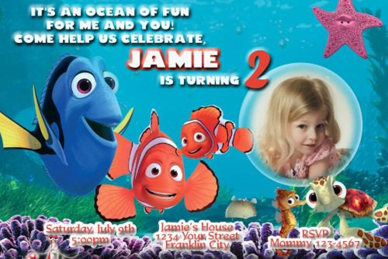 Finding Dory Birthday Party Invitation Nemo Birthday Party Etsy