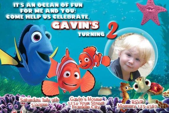 Finding Nemo Invitation Finding Nemo Birthday Party Invitation Etsy