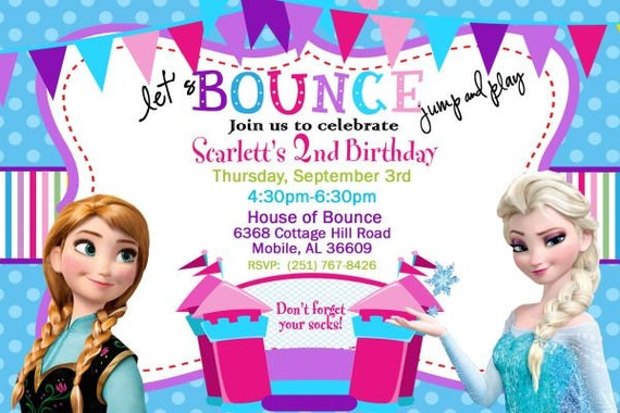 20 Disney Frozen Bounce House Invitation Elsa And Anna