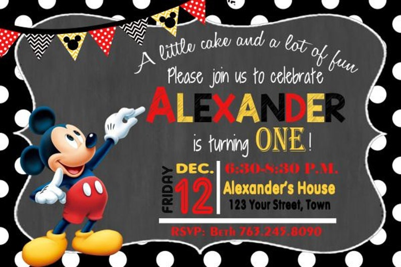MICKEY MOUSE INVITATION Mickey Birthday Card Mouse