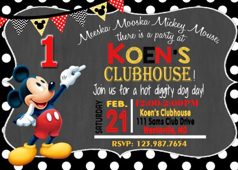 MICKEY MOUSE INVITATION Mickey Birthday Card Mouse