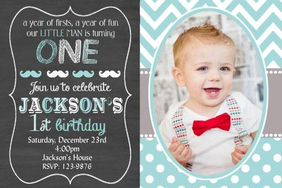 boys little man birthday invitation boys first birthday etsy