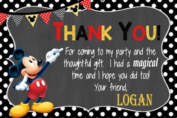 Mickey Mouse Thank You Card Mickey Thank You Mickey Birthday Etsy