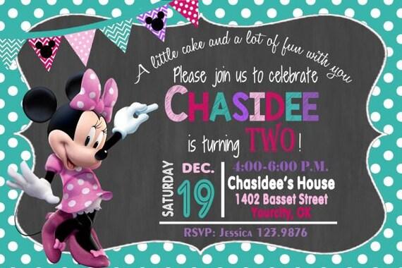 Minnie Mouse Invitation Minnie Invitation Minnie Birthday Etsy