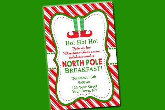 elf feet north pole christmas party invitation digital file etsy