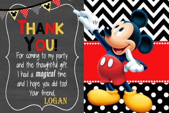 Mickey Mouse Thank You Card Mickey Thank You Mickey Birthday Etsy