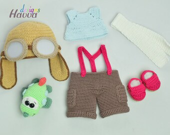 Amigurumi Aviator Set for Tommy Doll & Crochet airplane Pattern / Amigurumi PDF