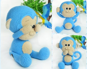 Crochet Pattern - Cute Blue Monkey (Amigurumi Toy Pattern)