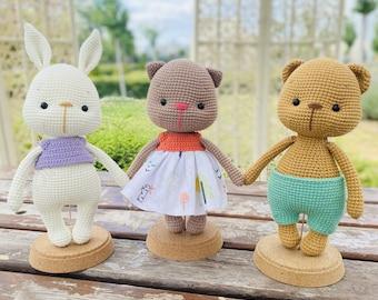 3 Friends Roby Moly Toby - Amigurumi Crochet Pattern, HavvaDesigns Crochet Bear Pattern, Crochet Rabbit, Crochet Cat Doll