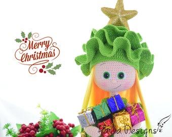 Crochet Pattern  - Doll With Pine Tree Costume Christmas Decoration (Amigurumi Doll Pattern)