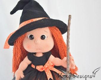 Mia the Cute Witch Doll - Amigurumi PDF Crochet Witch Pattern
