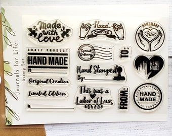 Handmade With Love - Clear stamp, crafting, cardmaking, journaling