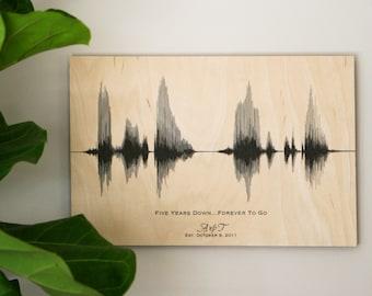 5th Anniversary Gift for Him Wood Anniversary Sound Wave Art Print 5 Year Anniversary