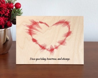 heart sound wave art christmas gifts for girlfriend 5th anniversary gift soundwave wood print