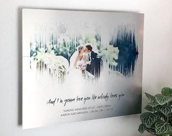 10 Year Anniversary Gift Wedding Photo on Tin Anniversary Gift Soundwave Art