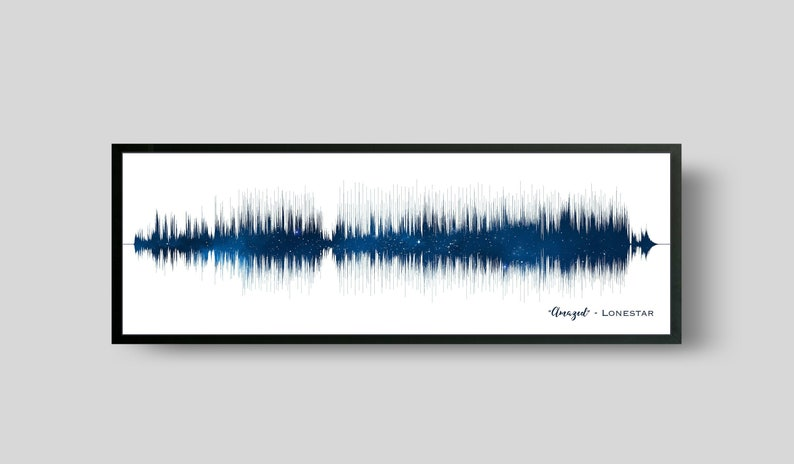 Soundwave Art Paper Anniversary Gifts Favorite Song Night Sky Blue