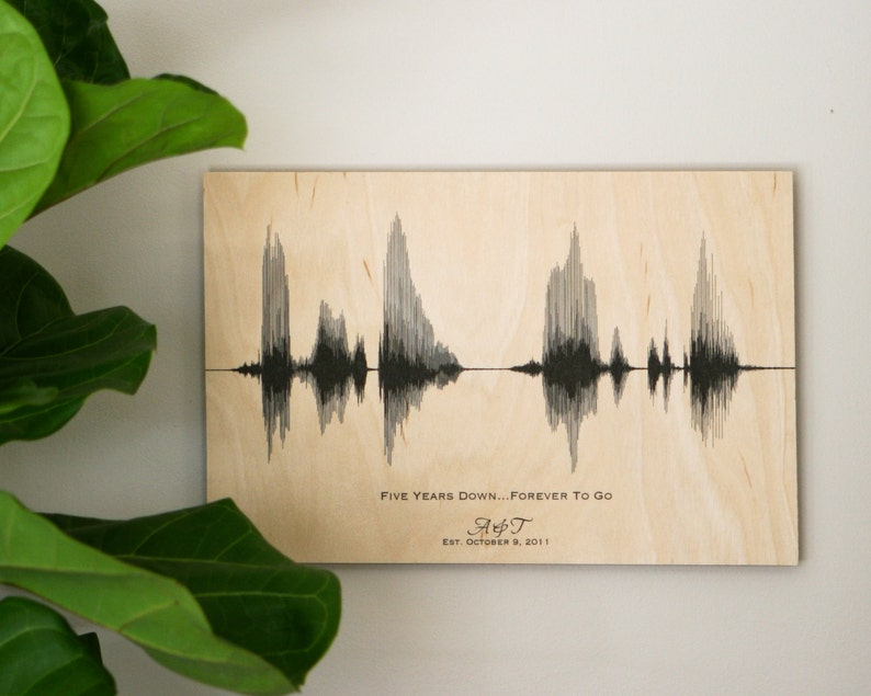 5th Anniversary Gift for Him Wood Anniversary Sound Wave Art image 0