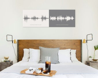 Wedding Vows Cotton Anniversary Gift for Her, Sound Wave Art, 2nd Anniversary Wedding Gift, Wedding Vow Art, Canvas Anniversary Gift for Him