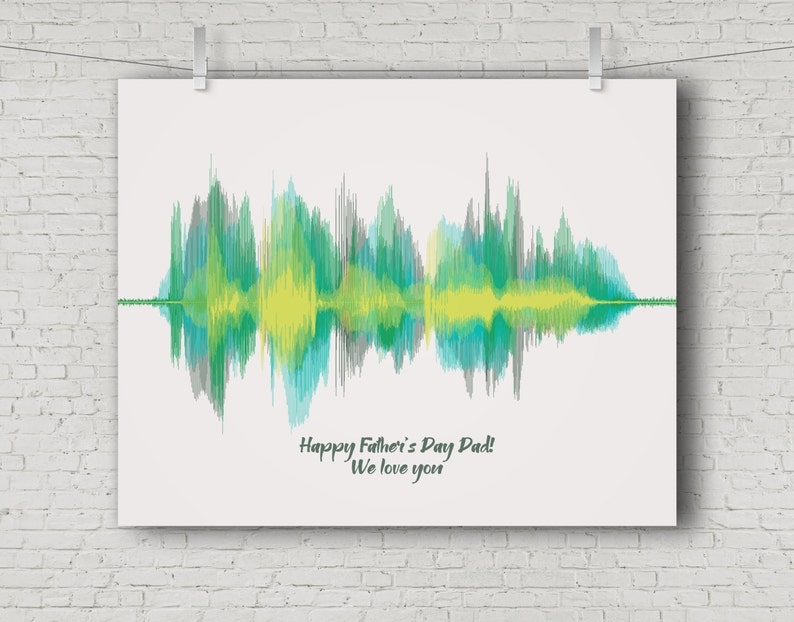 Dad Gift from Kids Fathers Day Gift Voice Sound Wave Art Gifts image 0
