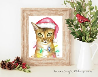 Chausie Cat Holiday Watercolor Print