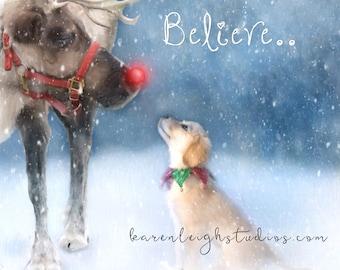 Believe - Golden Retriever Art Puppy Print