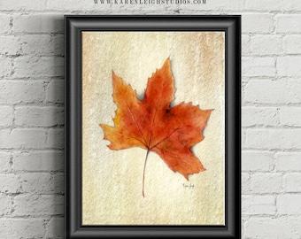 Fall Leaf Watercolor Print