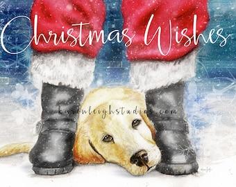 Christmas Wishes Golden Retriever Art