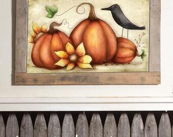 Fall Pumpkins Watercolor Print