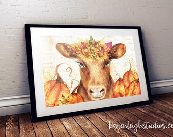 Fall Cow Watercolor Print