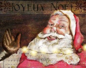 Joyeux Noel Vintage Santa Mixed Media Print