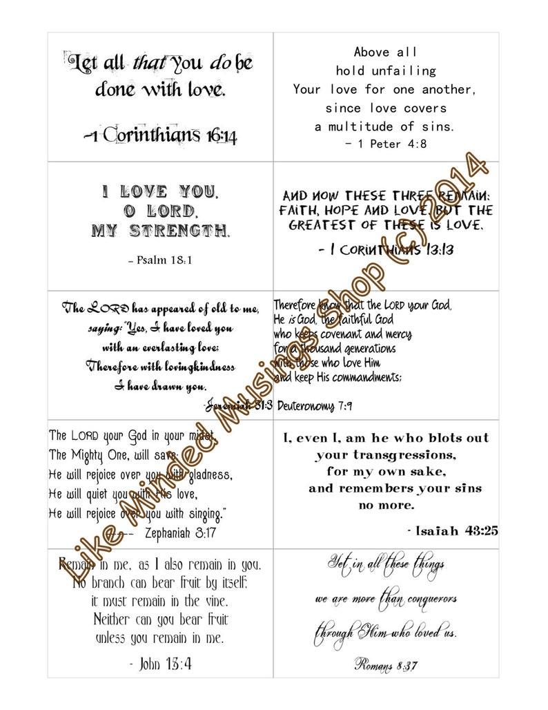 Bible Verse Love Cards Set Printable Scripture Cards Instant image 0