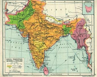 Antique Bombay Map Etsy