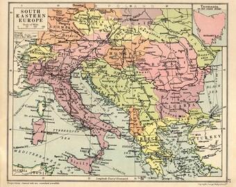 Jugoslawien Karte.Alte Karte Jugoslawien Etsy