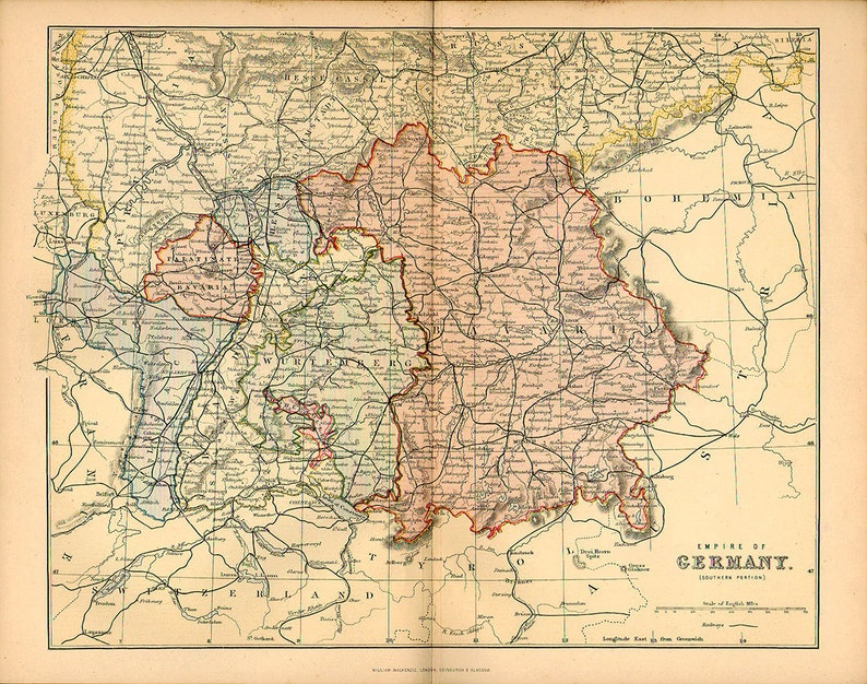 Map Of Southern Germany With Cities.Large Map Of Germany Empire 1890 Atlas Antique Map Berlin Bavaria Map Map Of Cities Map Decor