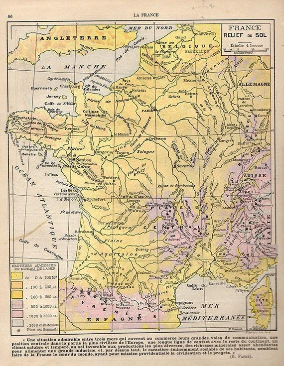 Medium French Map Of France 1907 Atlas Antique Map Bordeaux Etsy