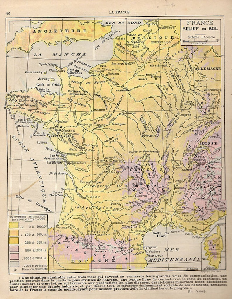 Map Of France Bordeaux.Medium French Map Of France 1907 Atlas Antique Map Bordeaux Etsy