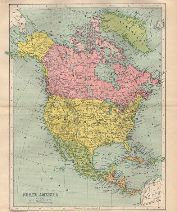 Large Map of North America, 1935 atlas antique map, America Canada Congo  Sudan Map Decor