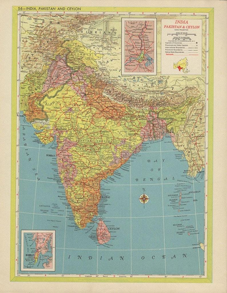 India Map1940 Pakistan Ceylon Asian Countries Nations Atlas Etsy