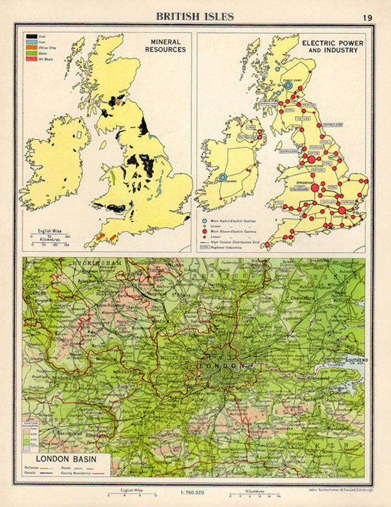 London Atlas Map.Beautiful Map Of London British Isles 1950s Atlas Antique Map Uk Map Of Great Britain Map Decor