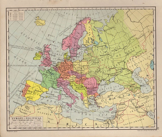 Map Of Europe 1950s.Europe Map 1950 Countries Nations Atlas Antique Map 9 X 7 Etsy