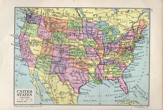 Magnífico Mapa De 1931 Estados Unidos Atlas Antiguo Mapa Etsy