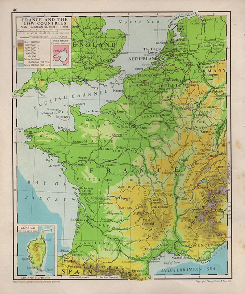Map Of France With Cities In English.Medium French Map Of France 1950 Atlas Antique Map Paris Map Map Of Cities Map Decor 29