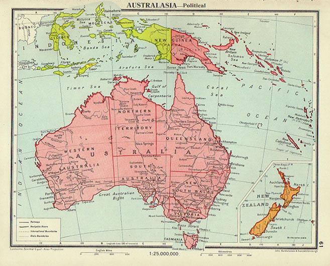 Mapa político de Australia 1950 atlas antiguos mapa | Etsy