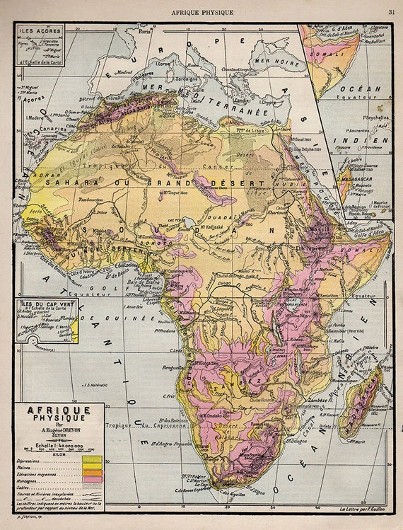 French Africa Map.Medium Detailed Map Of Africa French 1907 Atlas Antique Map Etsy