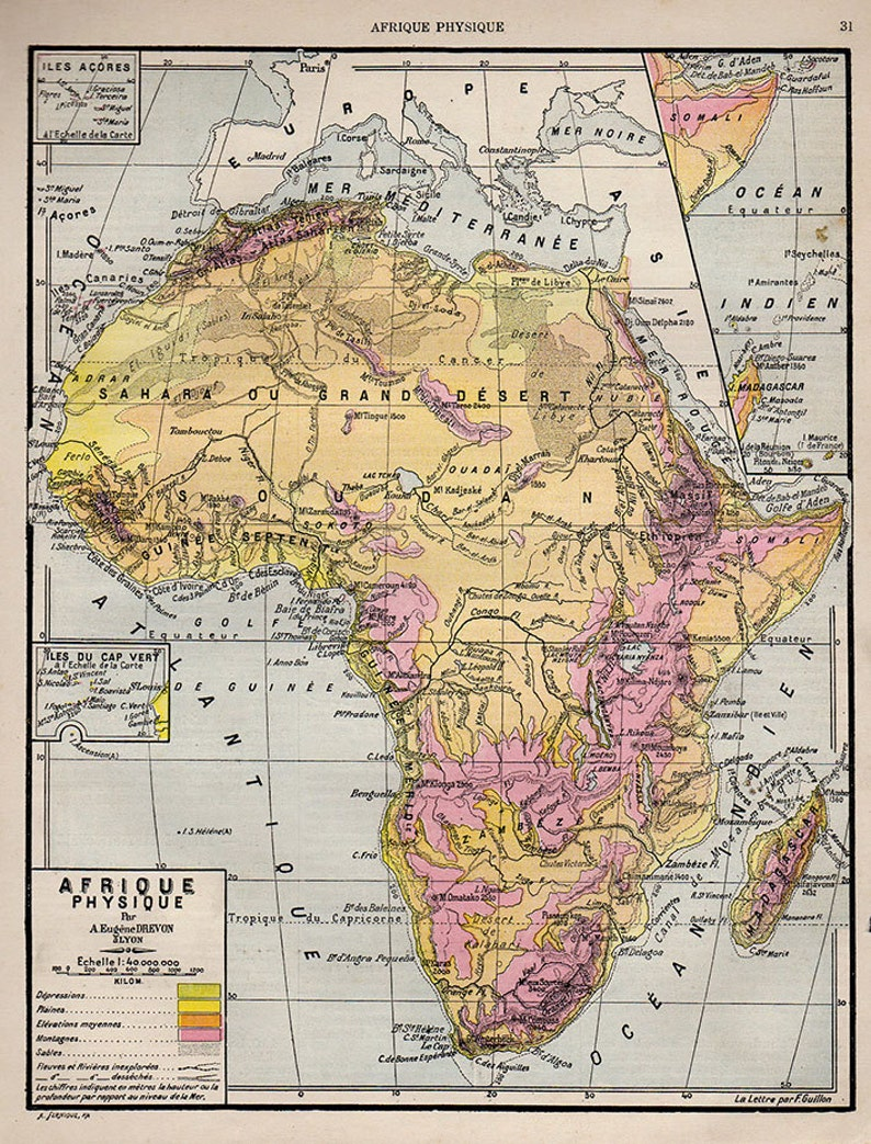 Map Of Africa French.Medium Detailed Map Of Africa French 1907 Atlas Antique Map Congo Libya Mozambique Map African Map Decor 31