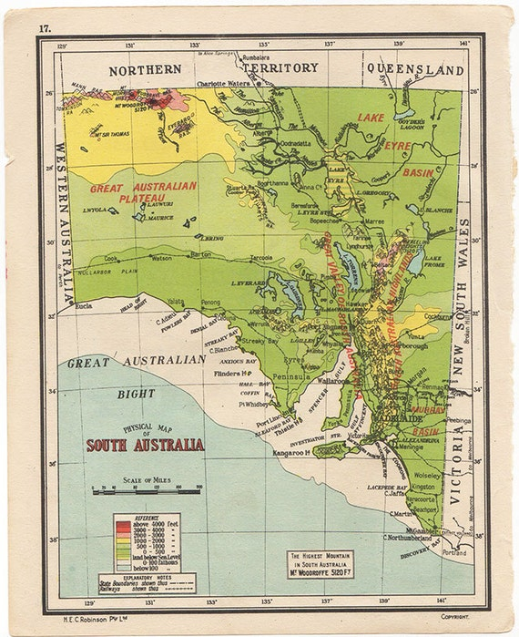 Physical Map of SOUTH AUSTRALIA 1950 atlas antique map | Etsy