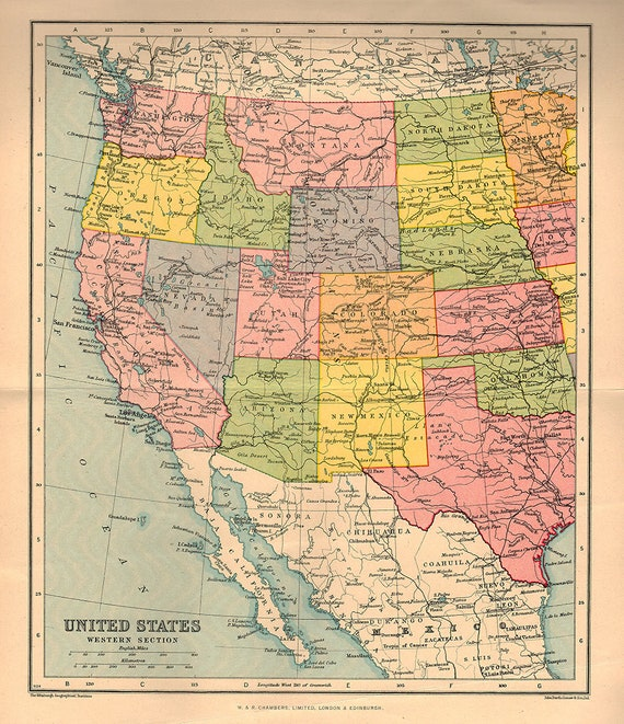 Large Map Of United States.Large Map Of Western United States America 1922 Atlas Antique Etsy