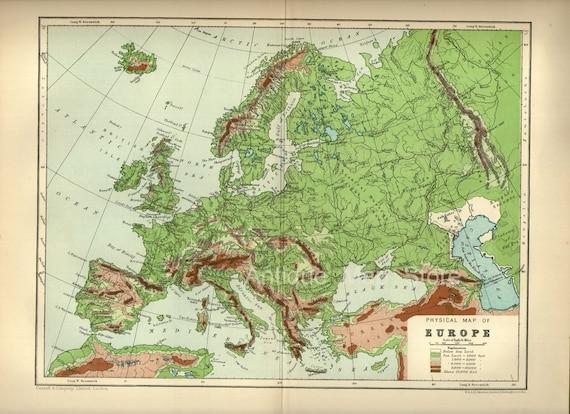 Schone Physische Karte Von Europa 1905 Atlas Antike Karte Etsy