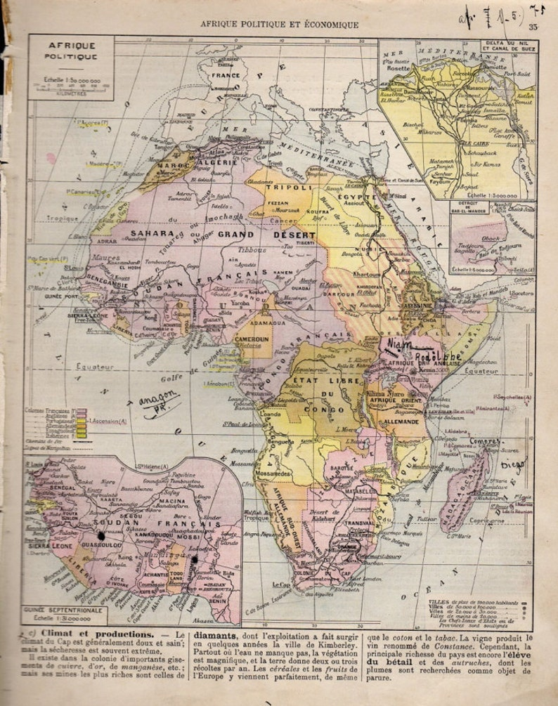 Map Of Africa French.Medium Detailed Map Of Africa French 1907 Atlas Antique Map Congo Libya Mozambique Map African Map Decor 35